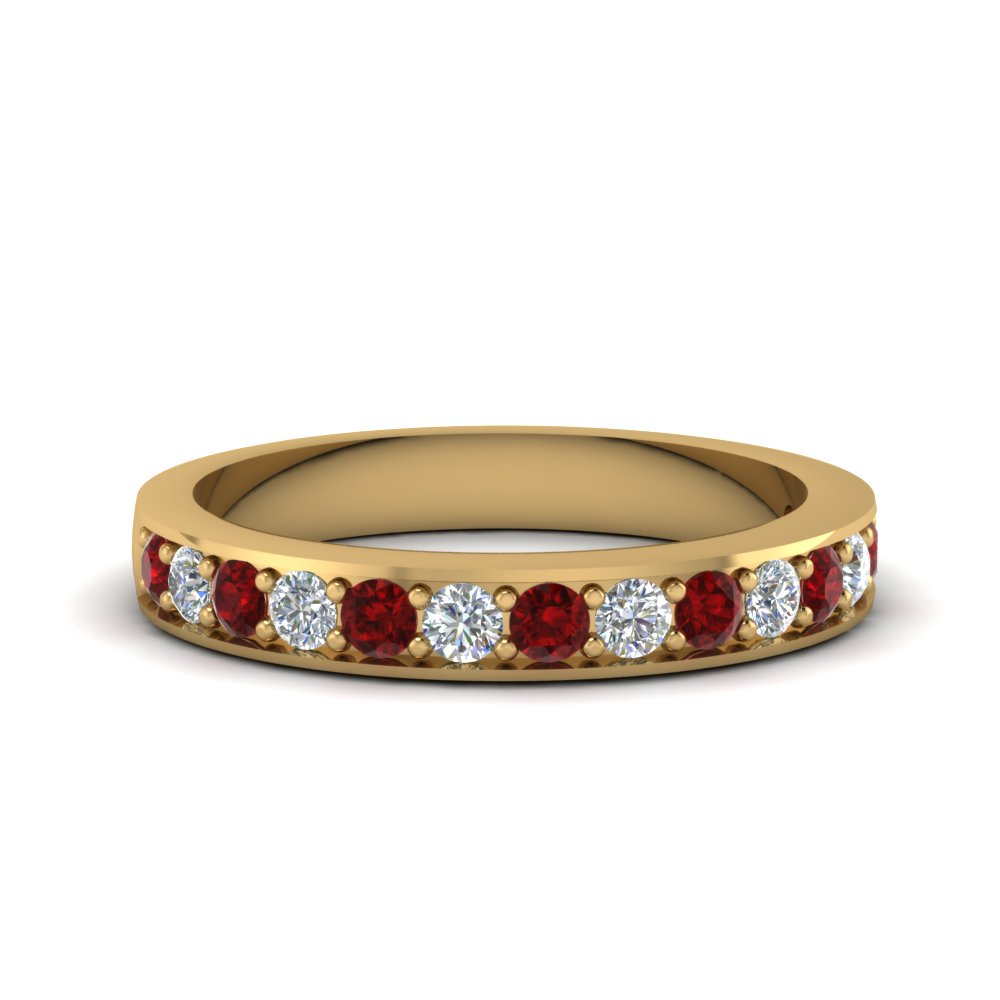 Simple Pave Ruby Diamond Band