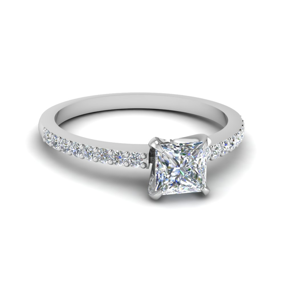 Princess Cut Delicate Diamond Ring Sale In 14K White Gold