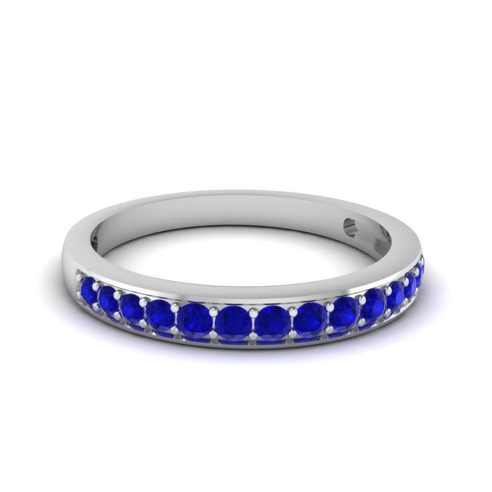 Pave Round Sapphire Wedding Band For Women in White Gold