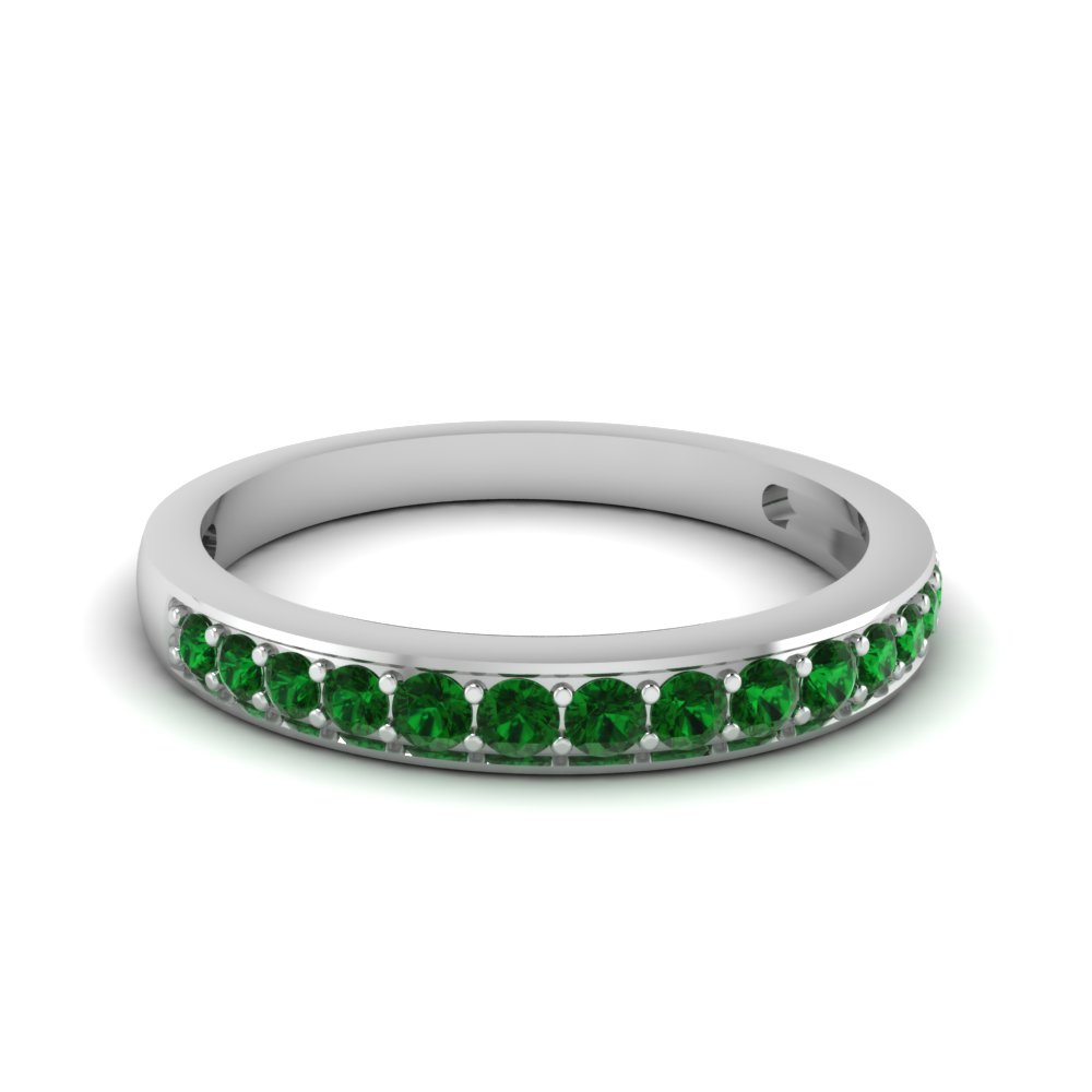 Simple Round Band With Green Emerald In 14K White Gold Fascinating