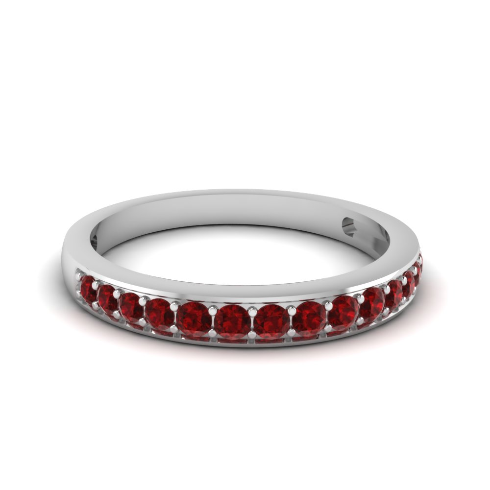 Simple Round Cut  Band With Ruby