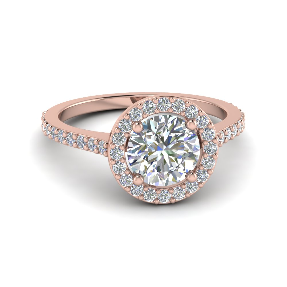 Simple Round Halo Diamond Engagement Ring In 18K Rose Gold