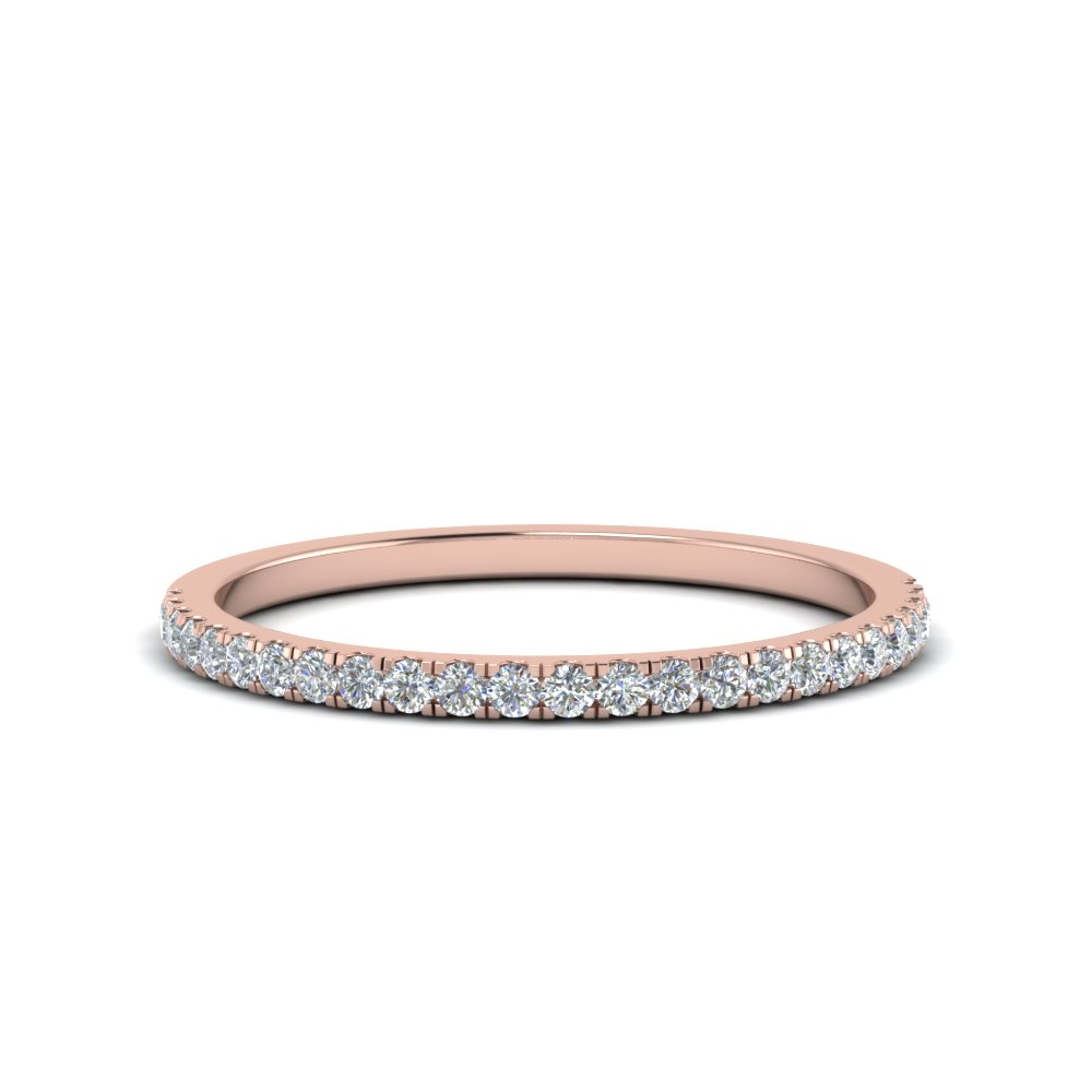 simple thin diamond wedding band in 14K rose gold FD8163B NL RG