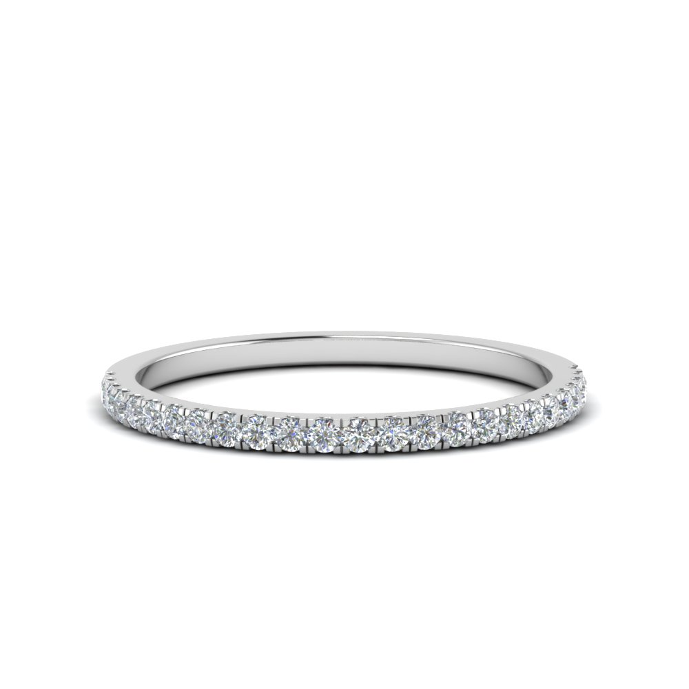 simple thin diamond wedding band in FD8163B NL WG