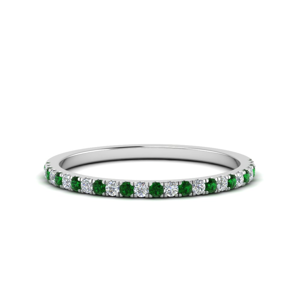 Simple Thin Emerald Wedding Band