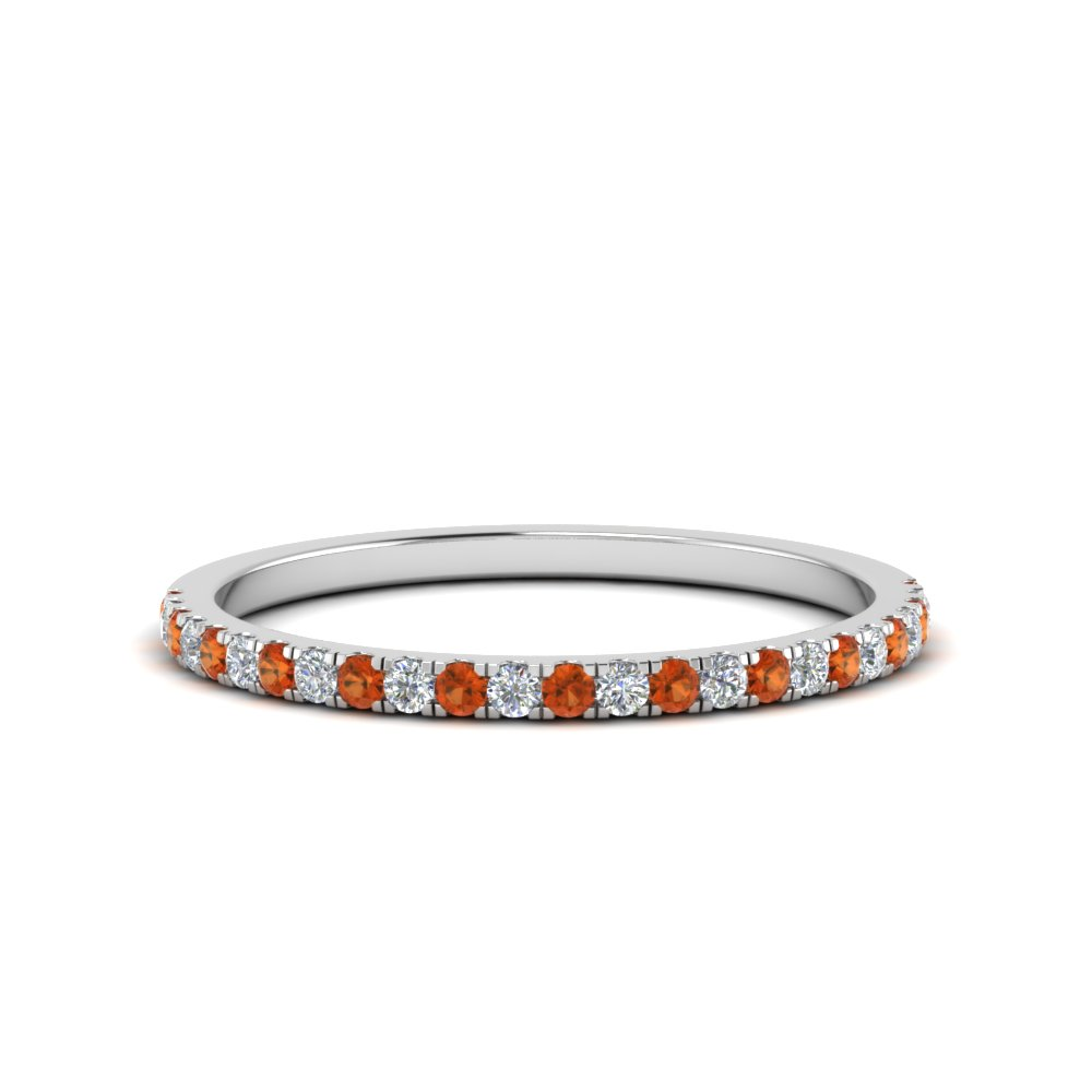 Simple Thin Diamond Wedding Band With Orange Sapphire In FD8163BGSAOR NL WG