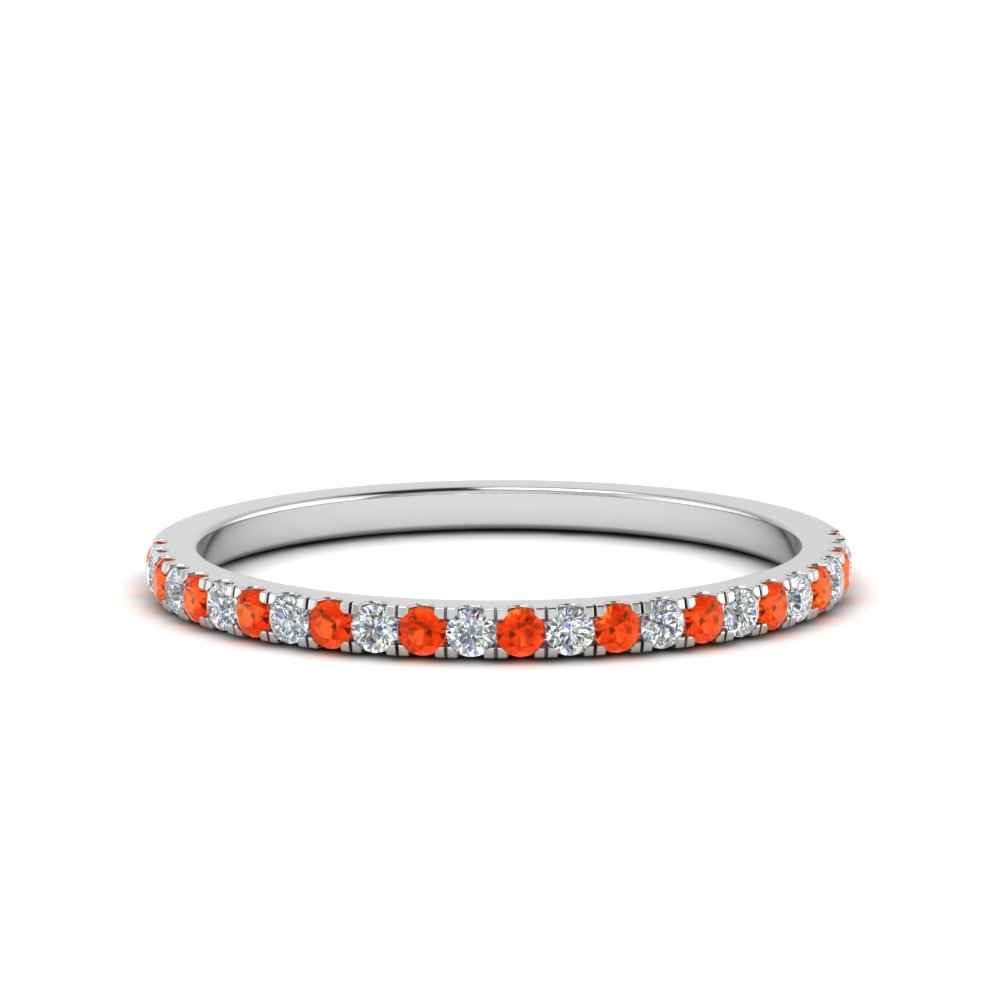 simple thin diamond wedding band with poppy topaz in 14K white gold FD8163BGPOTO NL WG