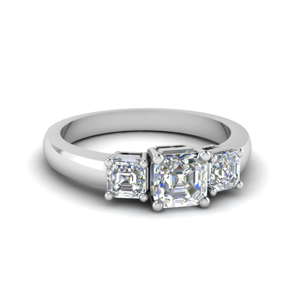 Simple Asscher Cut 3 Stone Engagement Ring In 18K White Gold
