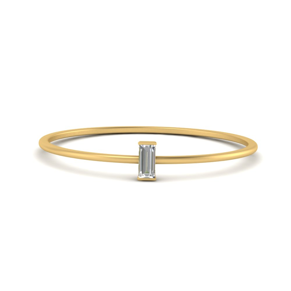 single baguette petite wedding band in yellow gold FD9408BG NL YG