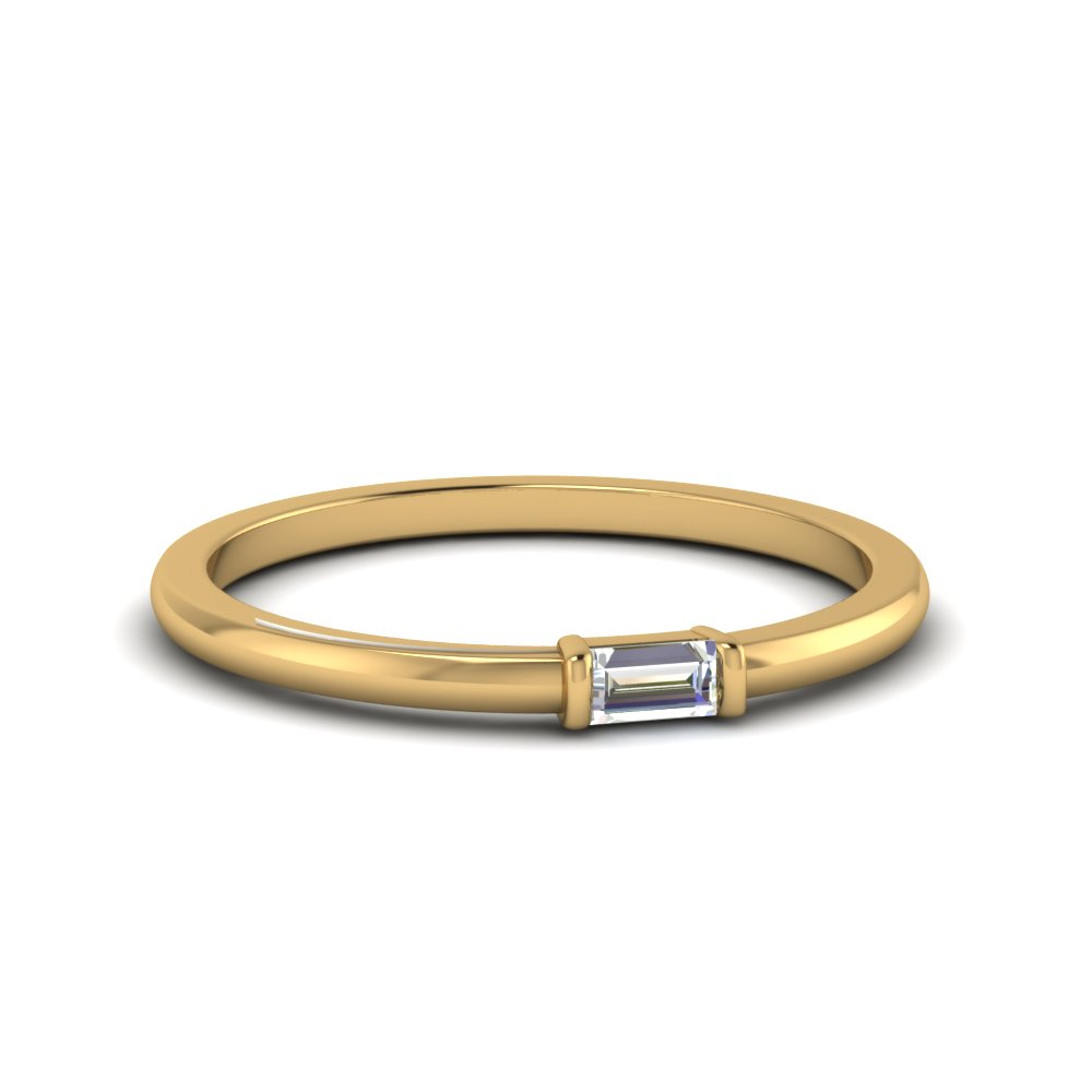 single baguette promise ring in 14K yellow gold FD8397R NL YG