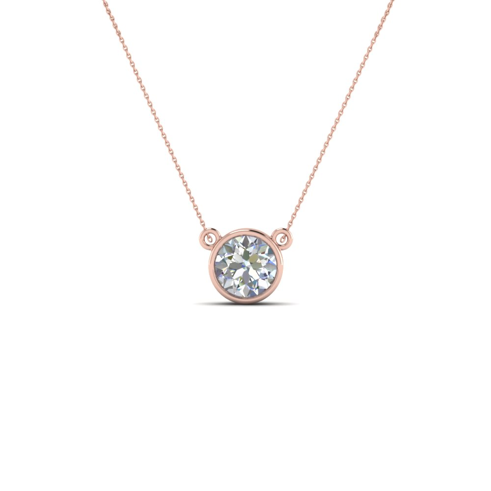 single bezel set diamond pendant necklace in FDPD81 NL RG