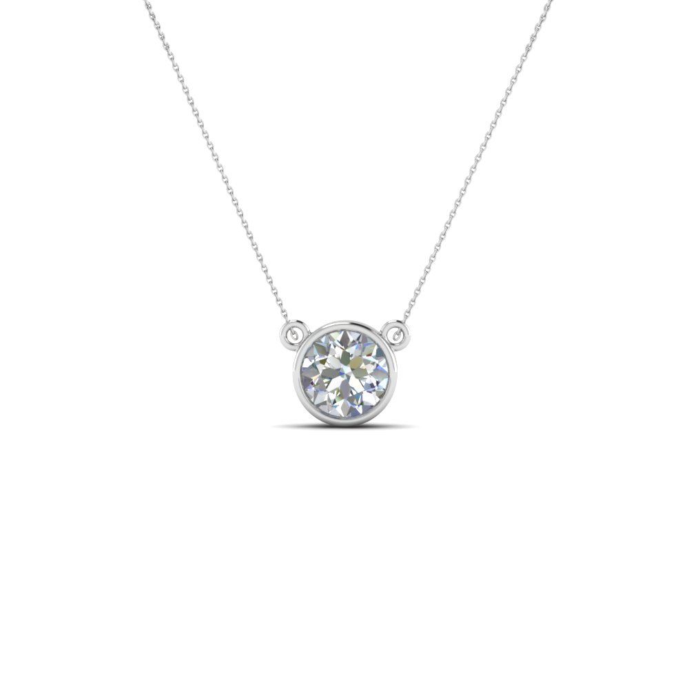 Single bezel set diamond pendant necklace in 14k white gold single bezel set diamond pendant necklace in fdpd81 nl wg aloadofball Choice Image