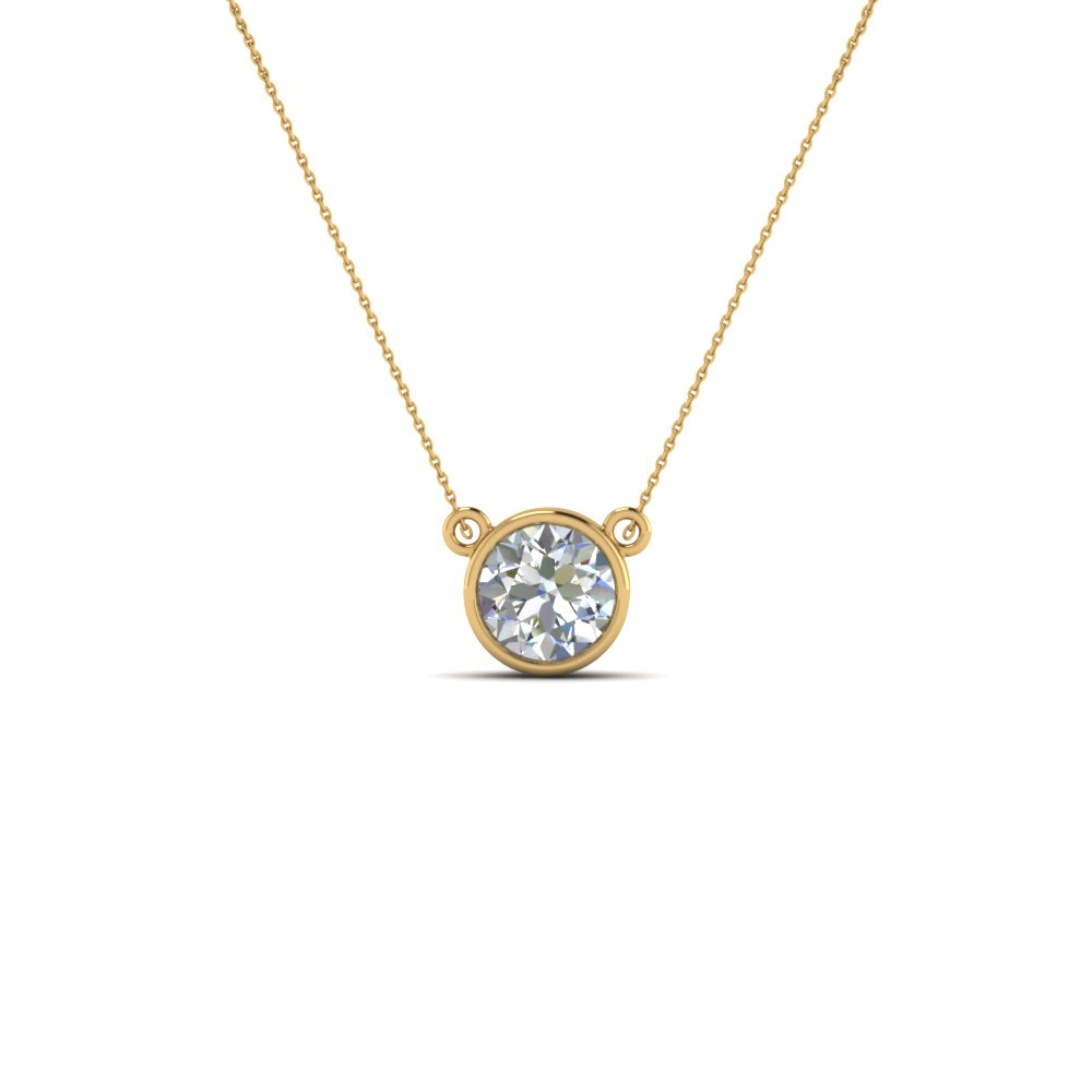 724c9b4db Single Bezel Set Diamond Pendant Necklace In 14K Yellow Gold ...