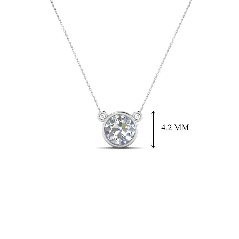 Single bezel set diamond pendant necklace in 18k white gold single bezel set diamond pendant necklace in fdpd81 nl wg add to cart mozeypictures Images