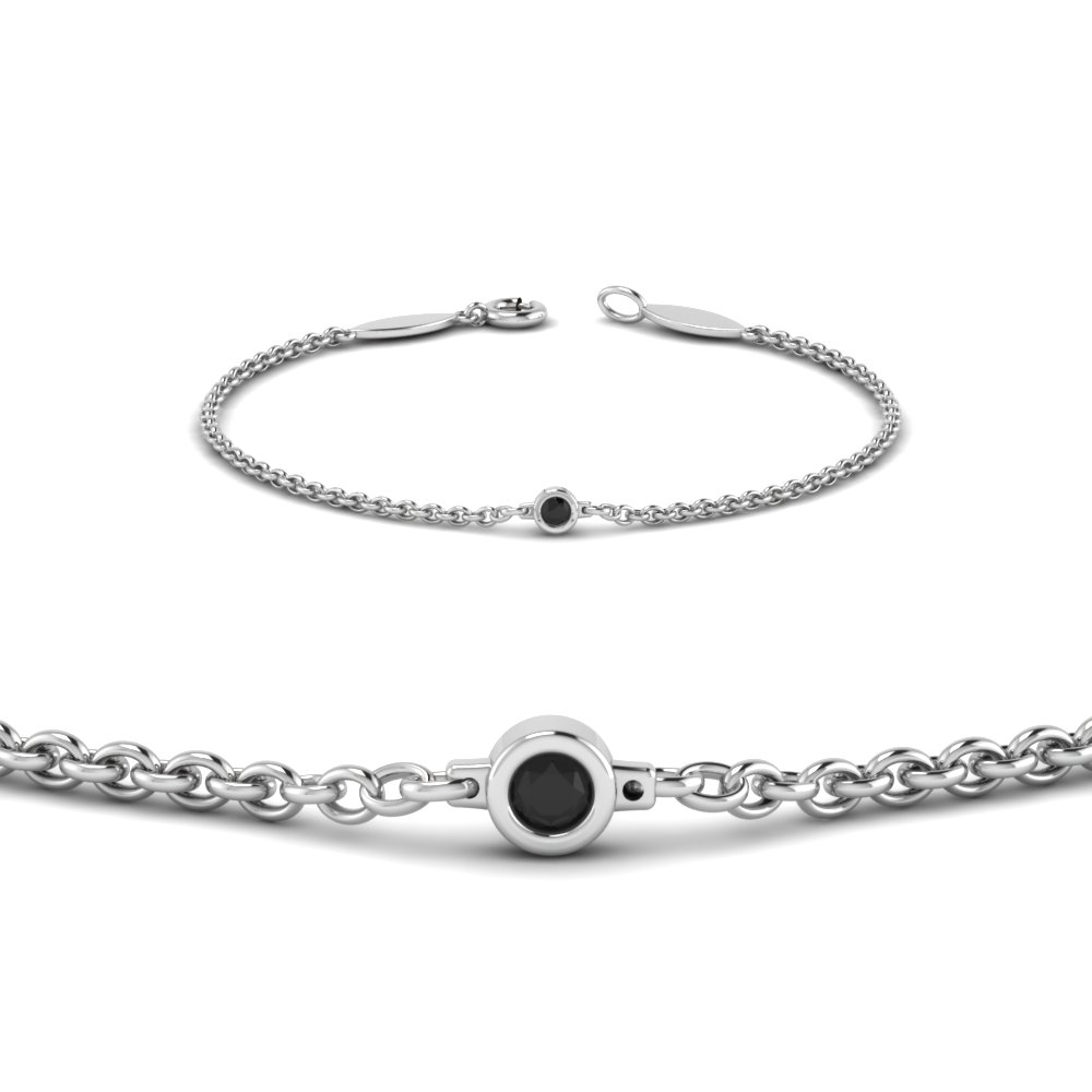single black diamond chain bracelet in 14K white gold FDBR651576GBLACKANGLE2 NL WG