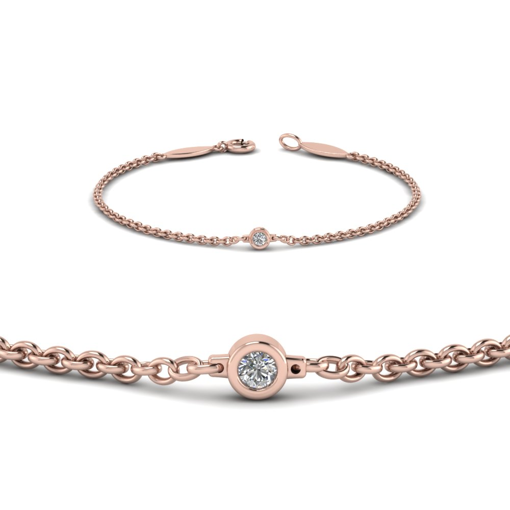single diamond chain bracelet in 14K rose gold FDBR651576ANGLE2 NL RG