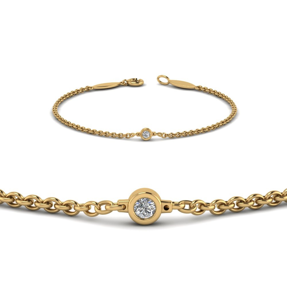 Bezel Set Diamond Chain Bracelet