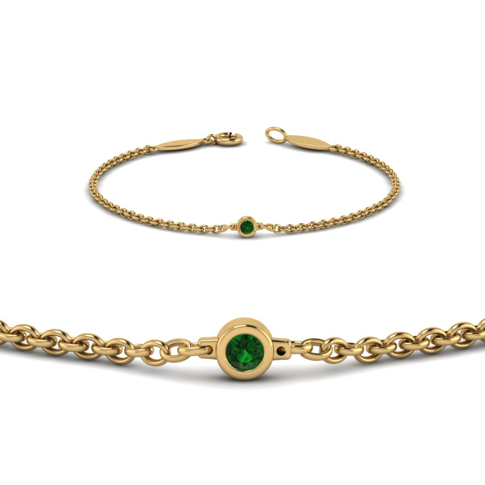 single emerald chain bracelet in 14K yellow gold FDBR651576GEMGRANGLE2 NL YG