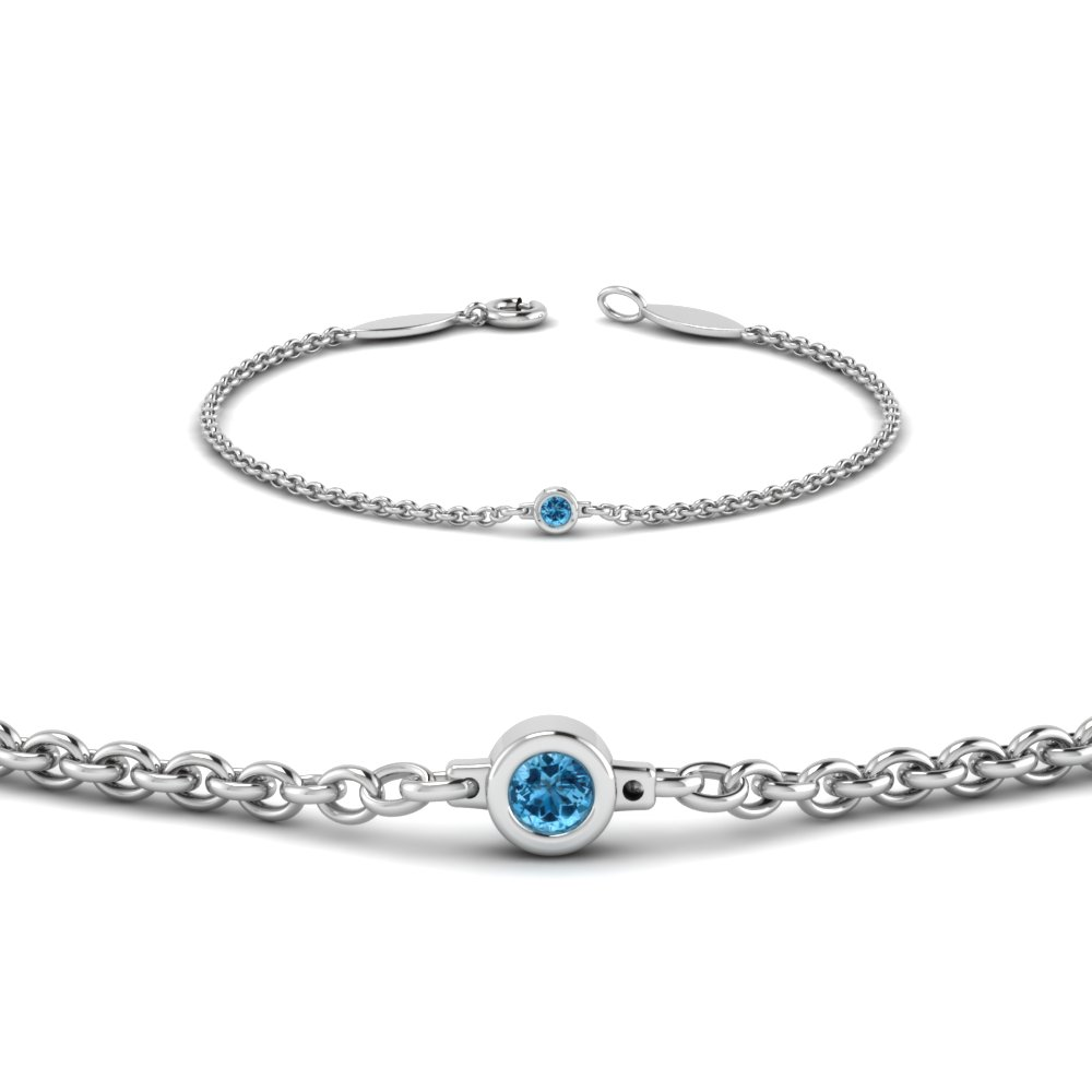single blue topaz chain bracelet in 14K white gold FDBR651576GICBLTOANGLE2 NL WG