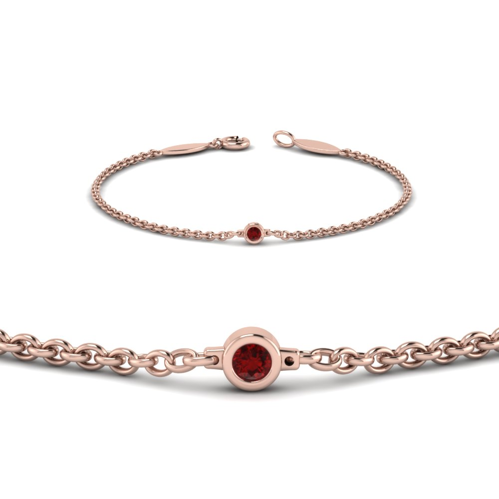 single ruby chain bracelet in 14K rose gold FDBR651576GRUDRANGLE2 NL RG