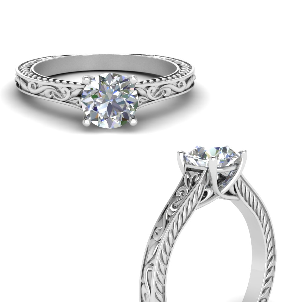 single diamond engraved shank engagement ring in FD123047RORANGLE3 NL WG.jpg