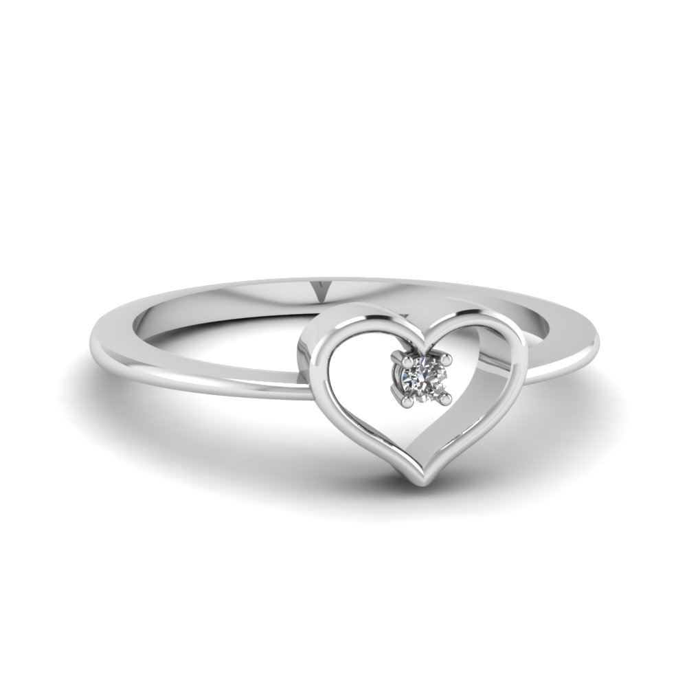Attractive ... Single Diamond Heart Promise Ring In 950 Platinum FD60358 NL WG