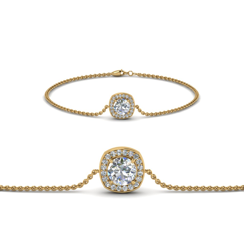 single halo round diamond bracelet in FDBRC8648 NL YG GS