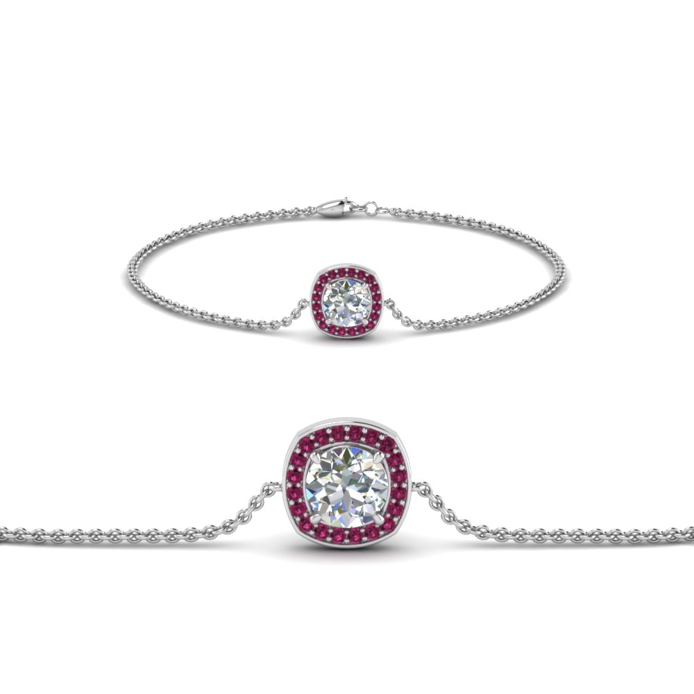 ruby tennis diamond bracelet wedding halo small gold pink and