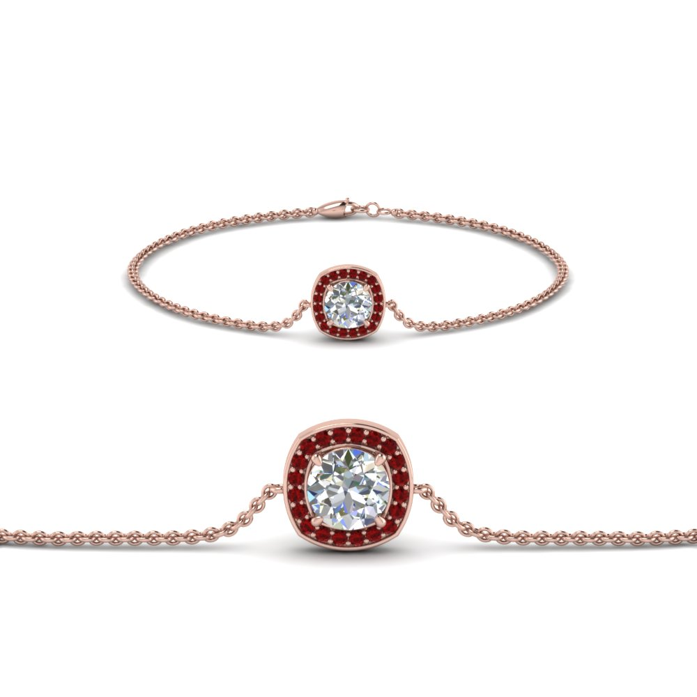 single halo round diamond bracelet with ruby in FDBRC8648GRUDR NL RG GS