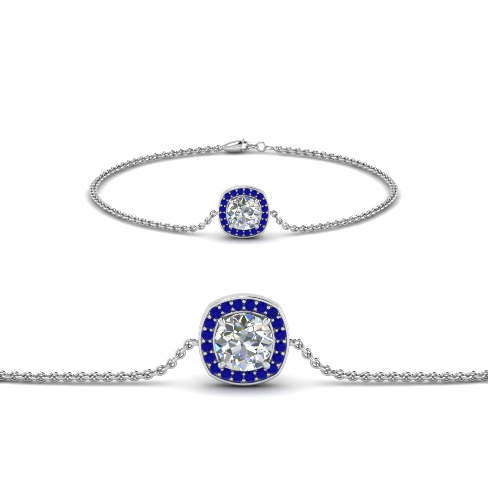 single halo round diamond bracelet with sapphire in FDBRC8648GSABL NL WG GS