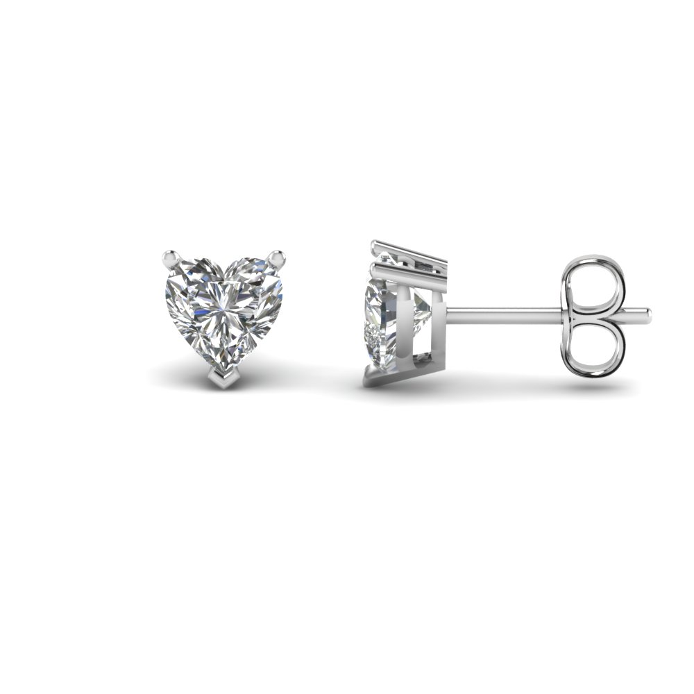 single heart diamond stud earring 2 carat in 14K white gold FDEAR3HT1CT NL WG