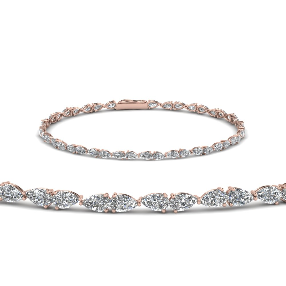 Elegant Pear Shaped Diamond Bracelet
