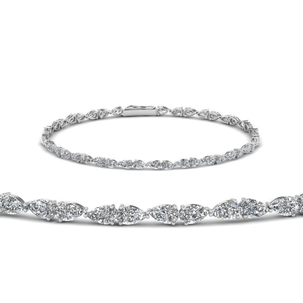 14K White Gold Single line Diamond Bracelet