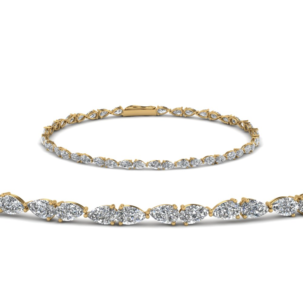18K Yellow Gold Diamond Bracelet For Women
