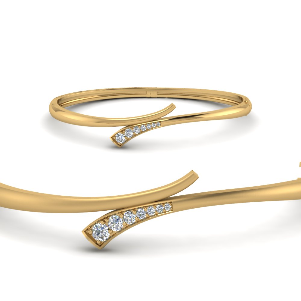 Delicate Diamond Gold Bangle Bracelet