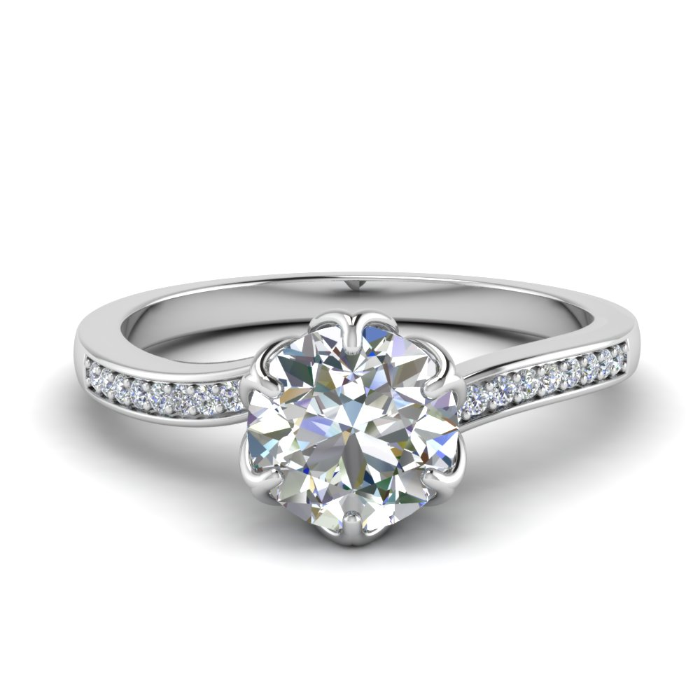 6 Prong Flower Engagement Ring