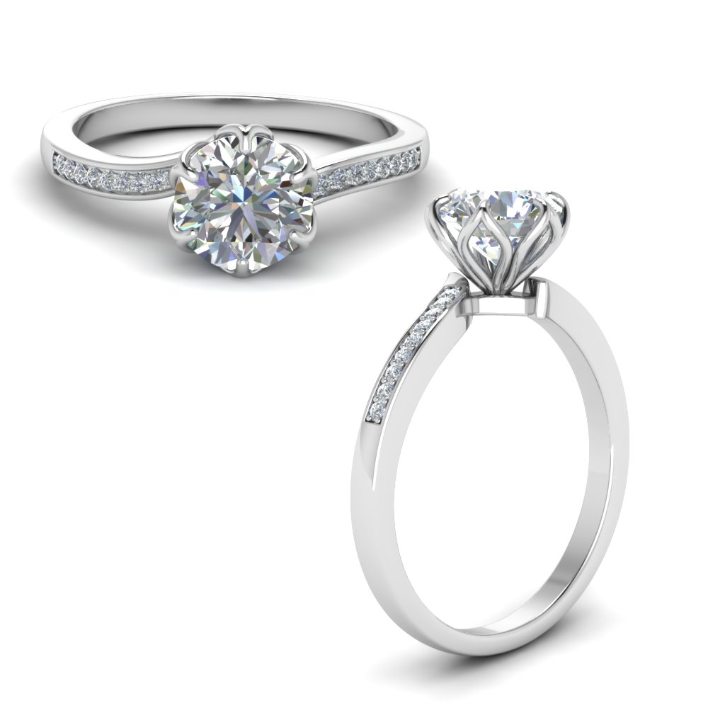 Six Prong Floral Diamond Engagement Ring In 14k White Gold