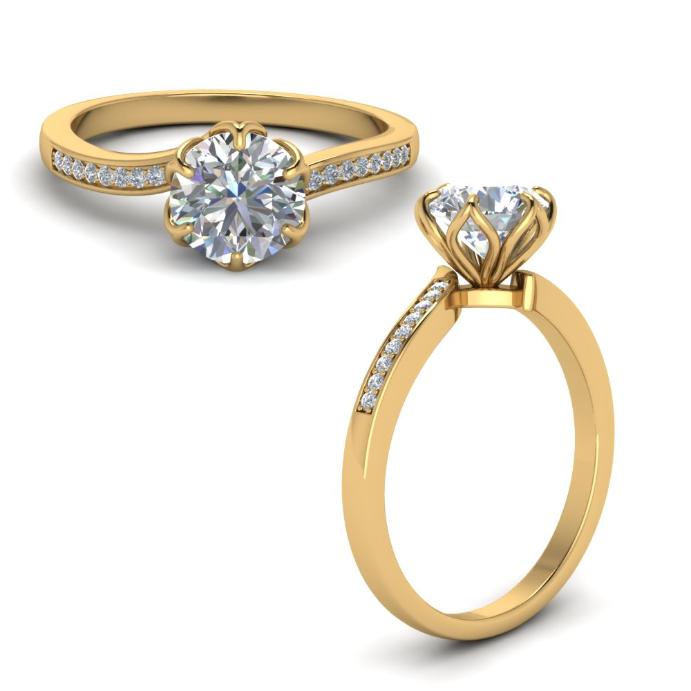 six prong floral diamond engagement ring in FD8609RORANGLE1 NL YG