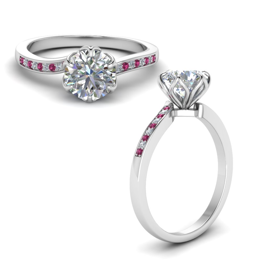 six prong floral diamond engagement ring with pink sapphire in FD8609RORGSADRPIANGLE1 NL WG