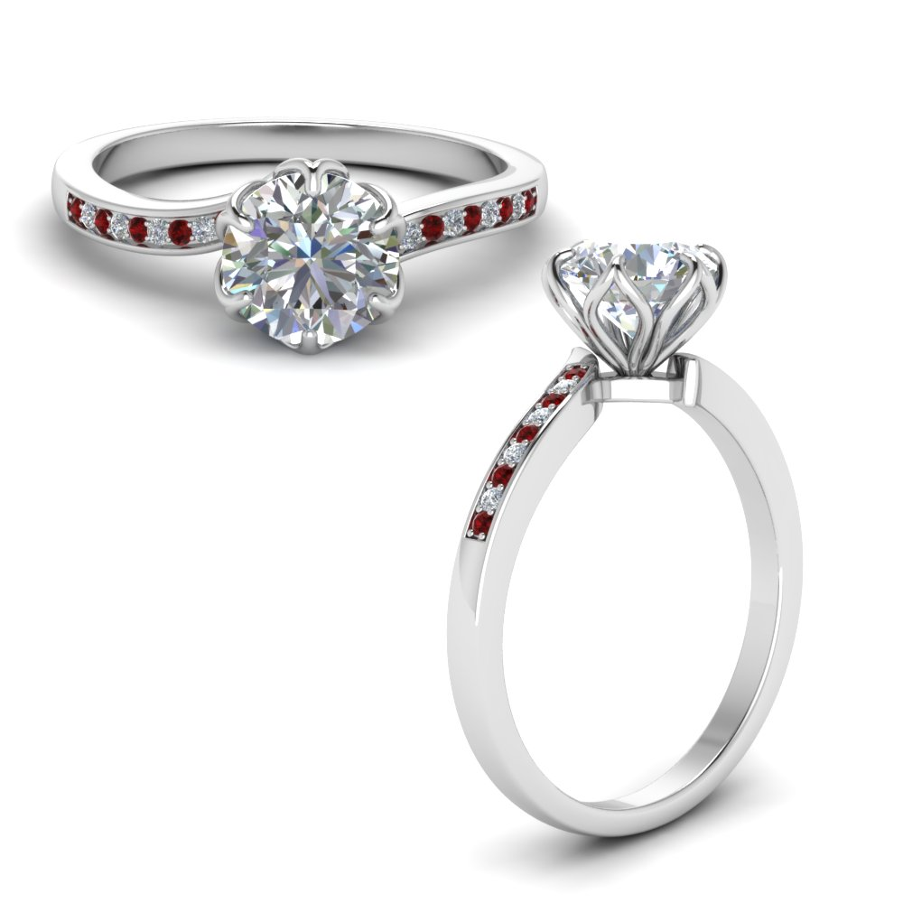 Six Prong Floral Engagement Ring