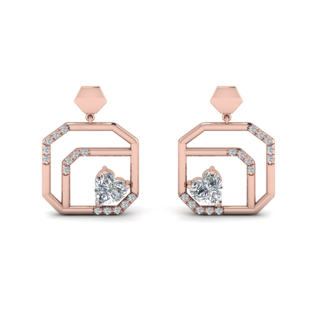 small diamond stud drop earring in 14K rose gold FDEAR8839 NL RG