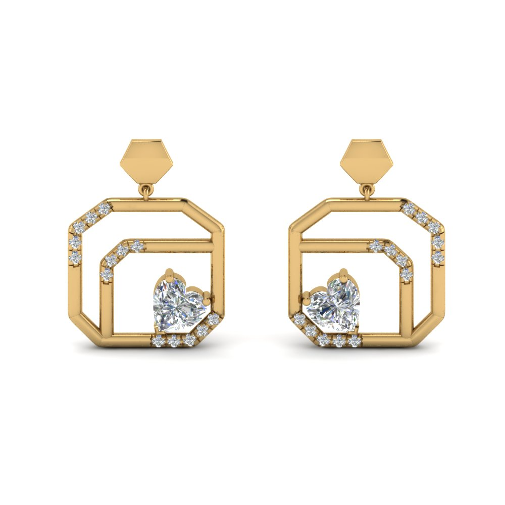 small diamond stud drop earring in 14K yellow gold FDEAR8839 NL YG