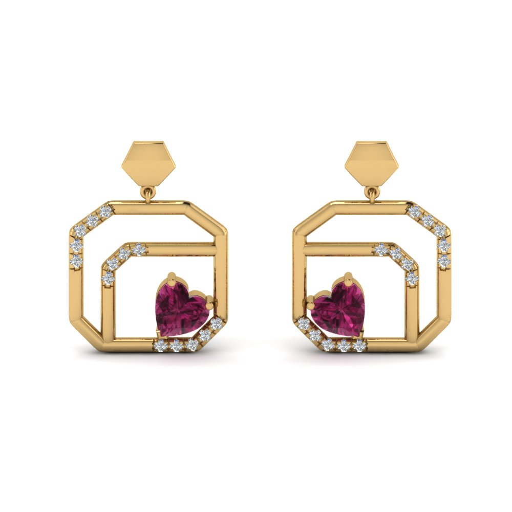 small diamond stud drop earring with pink sapphire in 14K yellow gold FDEAR8839GSADRPI NL YG