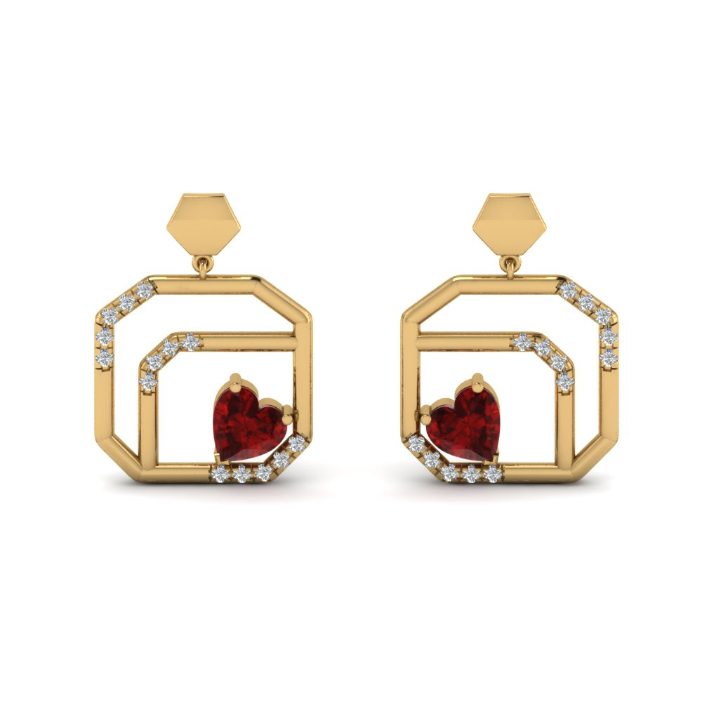 Ruby Stud Drop Earring