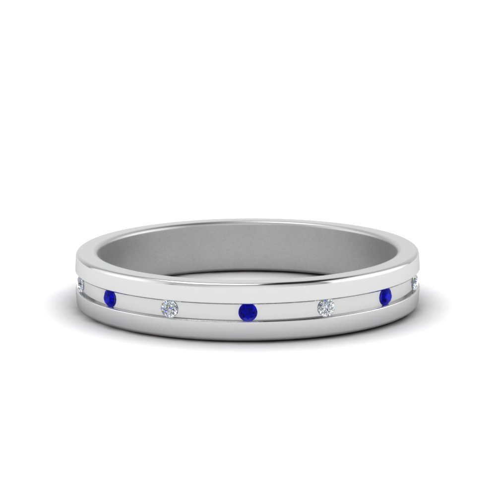 small mens diamond anniversary band with blue sapphire in FD122267BGSABL NL WG
