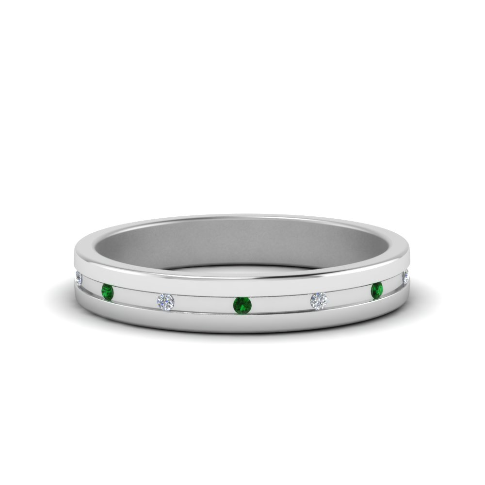 small mens diamond anniversary band with emerald in FD122267BGEMGR NL WG