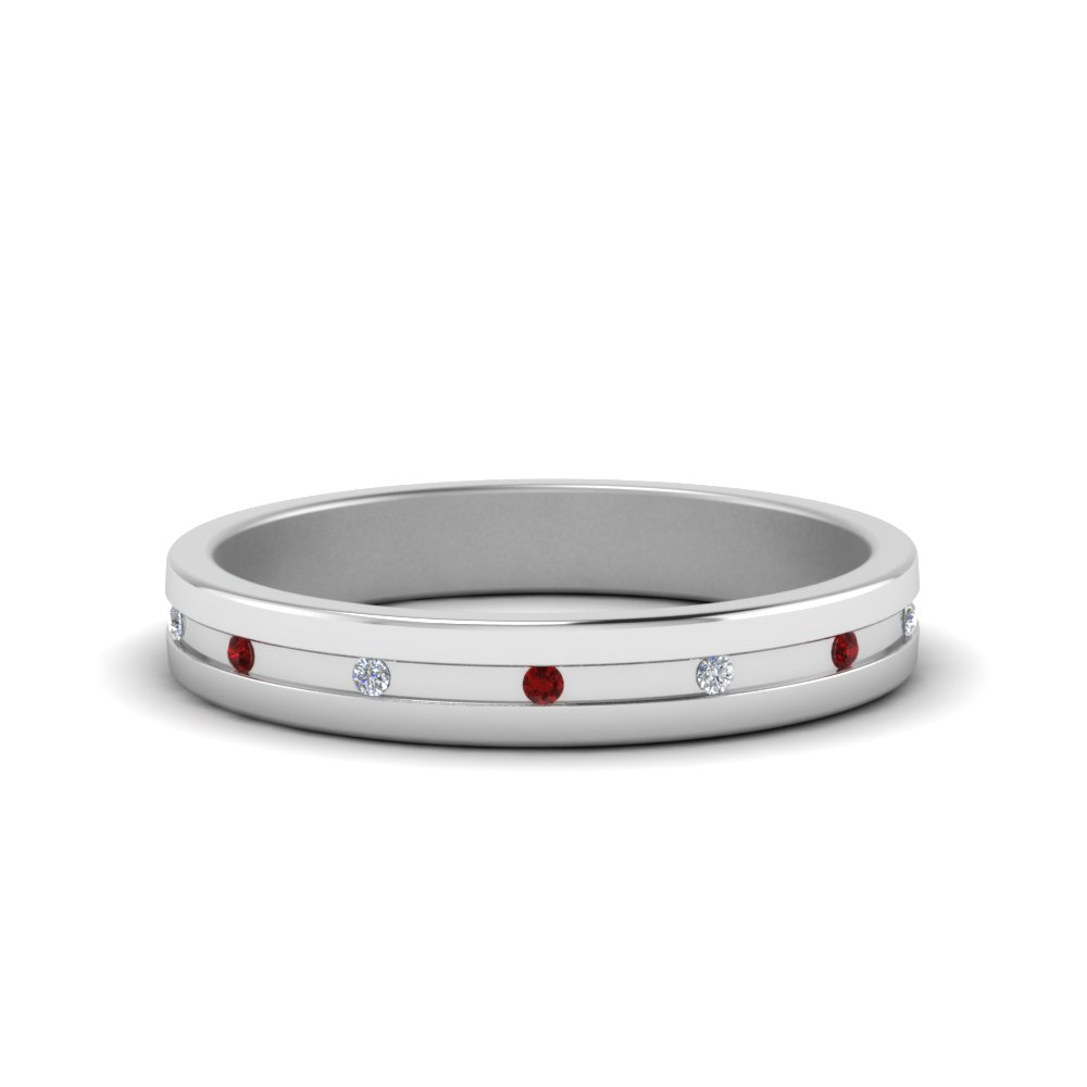 small mens diamond anniversary band with ruby in FD122267BGRUDR NL WG