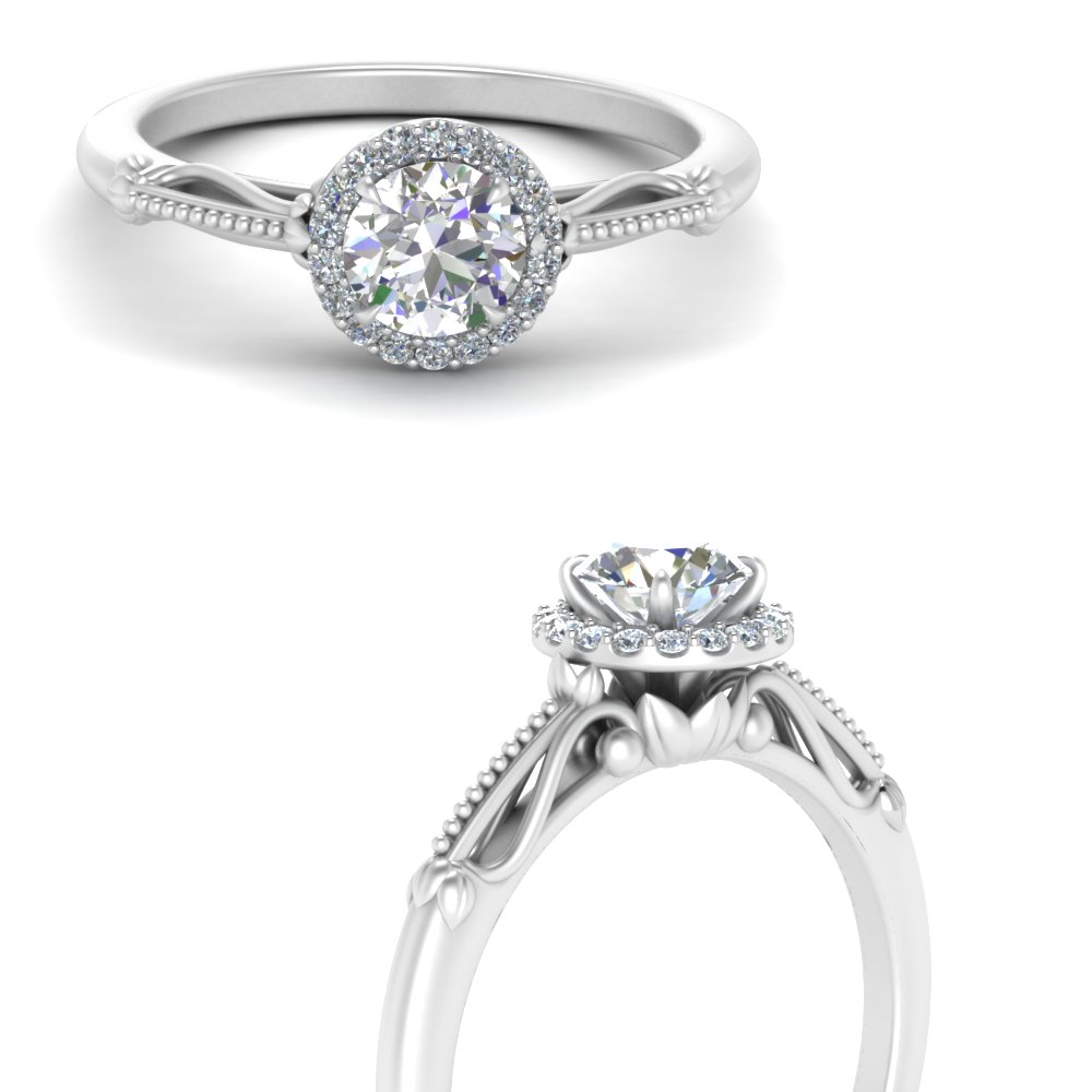small milgrain engagement ring with round halo in 14K white gold FD124330RORANGLE3 NL WG.jpg
