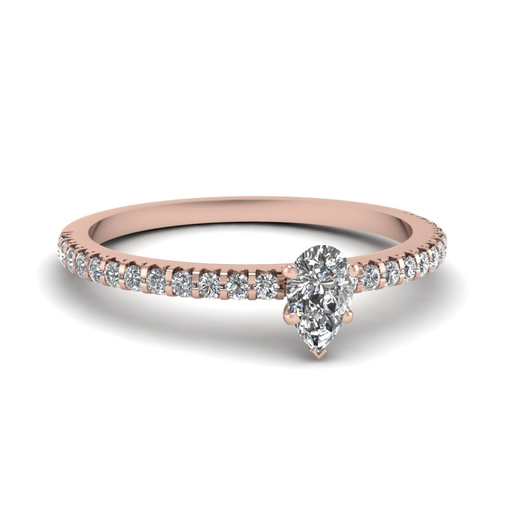 Small Pear Affordable Diamond Engagement Ring Band In 14K Rose