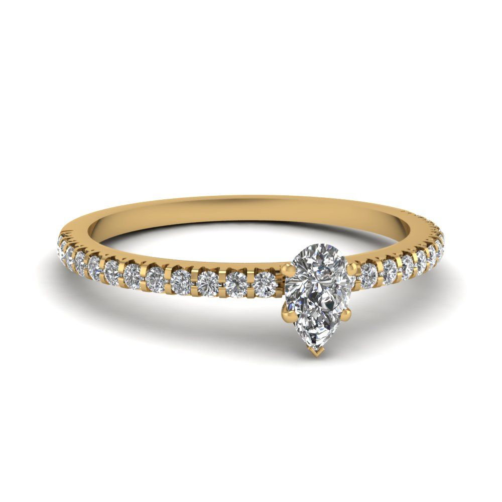 affordable engagement rings with white diamond in 14k yellow gold - Affordable Diamond Wedding Rings